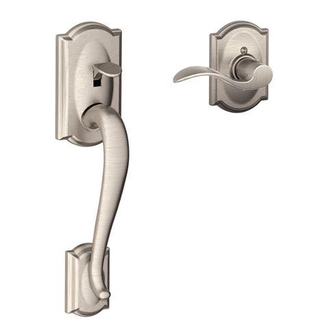 Exterior Lever Door Handles Shop Schlage Camelot Adjustable Satin Nickel Entry Door Exterior Handle At Lowes