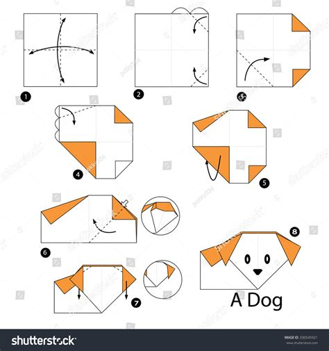 How To Make Paper Dogs - step by step how make stock vector 330545921