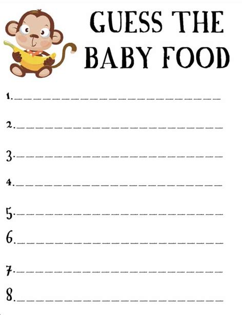 Template Of Baby Shower Guessing Game And Guest List Baby Shower Ideas Guessing Template