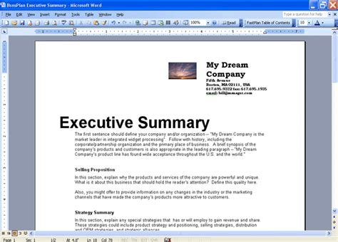 Summary Business Plan Template by Business Plan Executive Summary