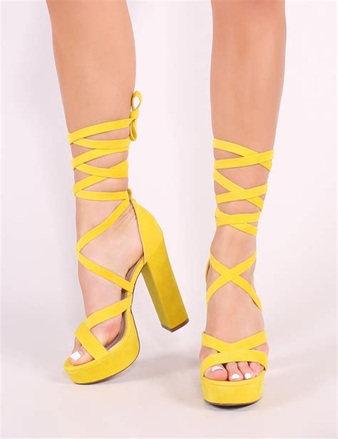 stella lace up heels in yellow desire desire us