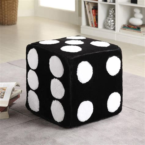 Bedroom Dice Contemporary Black Dice Ottoman Chair Footstools Poufs