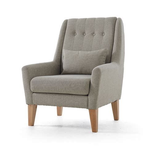 Modern Armchairs For Living Room by Upholstery Furniture Legs Wood Finish Linen Cotton Fabric