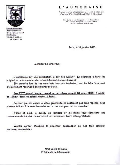 Demande De Lots Lettre L Actualit 233 Des Lots Pour La Tombola Du Banquet 2010