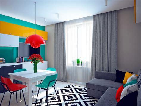 superb Teal Wallpaper Interior Design #1: yellow-and-teal-modern-interior.jpg