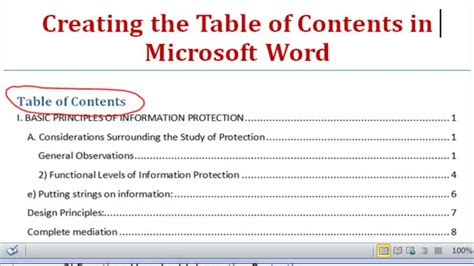 How To Add Table Of Contents In Word 2010 by Creating The Table Of Contents Using Microsoft Word 2007