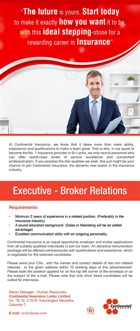 What Is The Minimum Experience Required For Executive Mba by Executive Broker Relations Vacancy In Sri Lanka