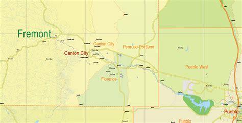 map of colorado vector printable map state colorado us main roads admin 10 ai pdf 8