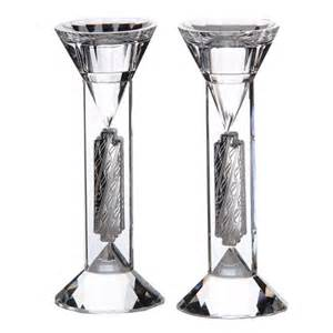 candlestick l crystal and silver shabbat candlesticks set of 2