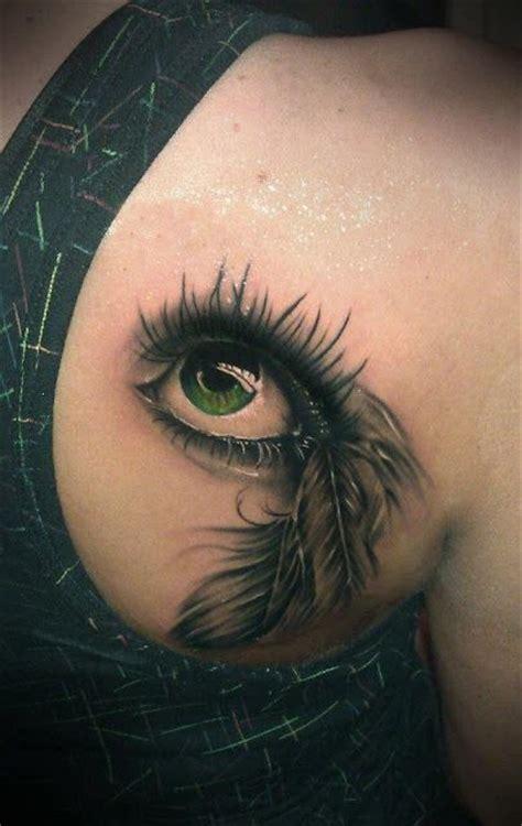 realistic eye tattoo realistic 3d green eye on back photorealistic