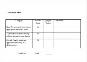 Simple Score Sheet by Sle Talent Show Score Sheet 7 Documents In Pdf