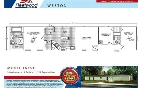 fleetwood weston 16763i 3 bedroom mobile home for sale