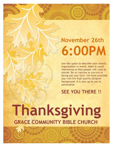 Thanksgiving Church Flyer Template Flyer Templates Thanksgiving Flyer Template Free