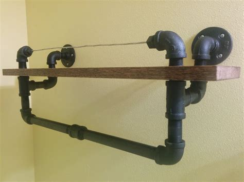 Home Improvement Ideas Bathroom by Diy Industrial Towel Rack With Oak Shelf
