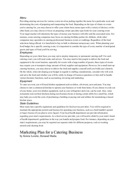 information on how to start a catering business
