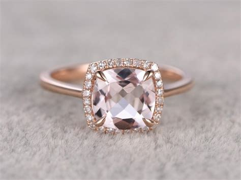 cushion cut halo with plain band 8x8mm morganite engagement ring gold halo