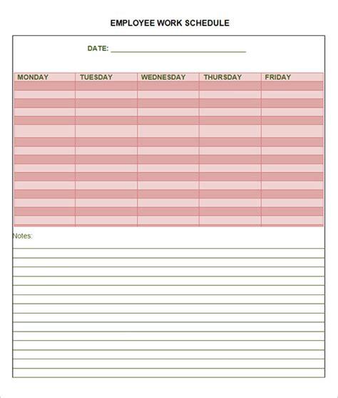 sample employee schedule 6 documents in word pdf