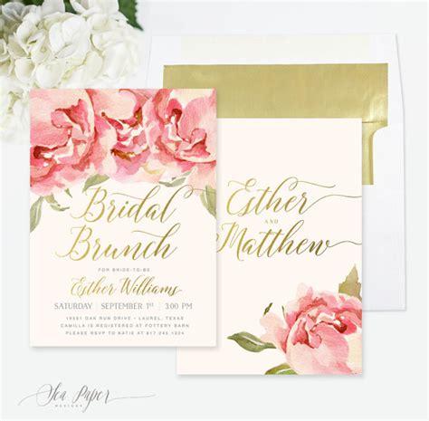 bridal shower brunch invitation floral gold by