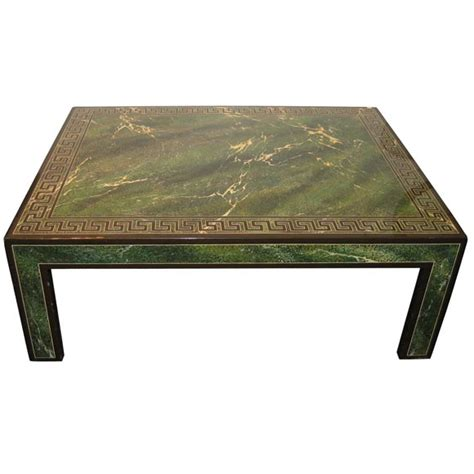 Green Coffee Tables Coffee Table In Faux Marble Green Lacquer For Sale At 1stdibs