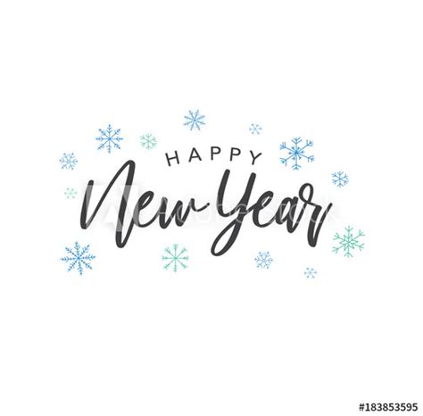 happy  year calligraphy vector text  colorful hand drawn snowflakes  white background