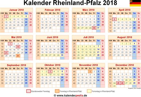Kalender 2018 Mit Feiertagen Rheinland Pfalz Kalender 2018 Rheinland Pfalz Ferien Feiertage Excel