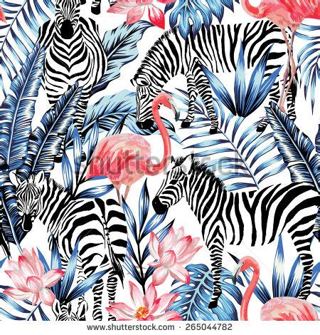 pink flamingo zebra on background stock vector 265044782