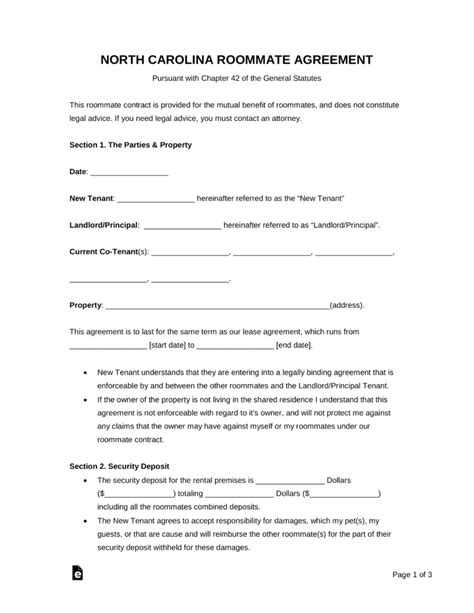 Free North Carolina Roommate Agreement Form Pdf Word Eforms Free Fillable Forms Free Nc Will Template