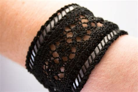 etna stripe black lace cuff bracelet 1800s by
