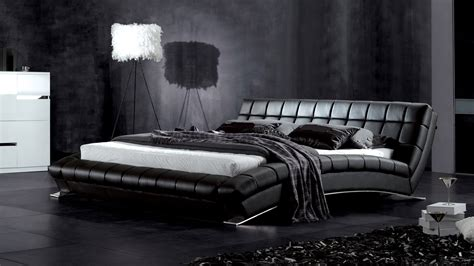 black leather bed adonis black tufted leather platform bed zuri furniture