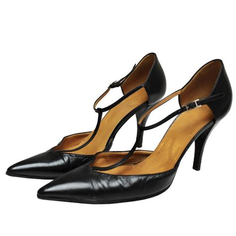 hermes black leather t bar shoes for sale at 1stdibs