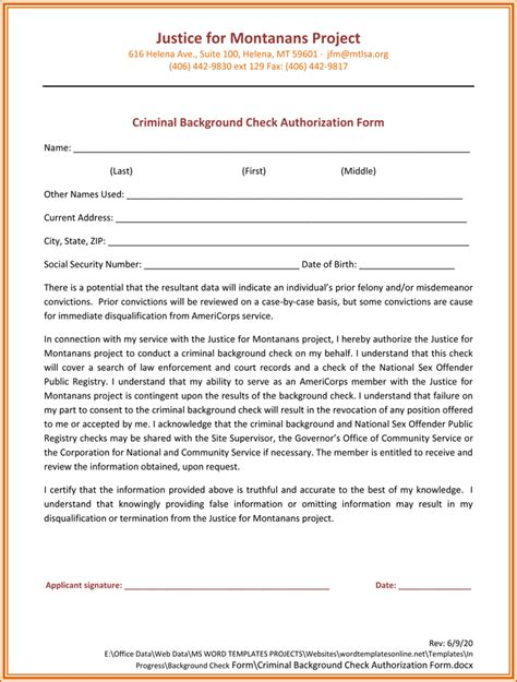 background check authorization form printable samples