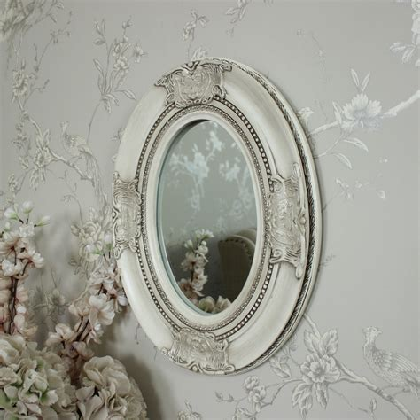 cream bathroom mirror ornate cream oval wall mirror shabby vintage chic bedroom