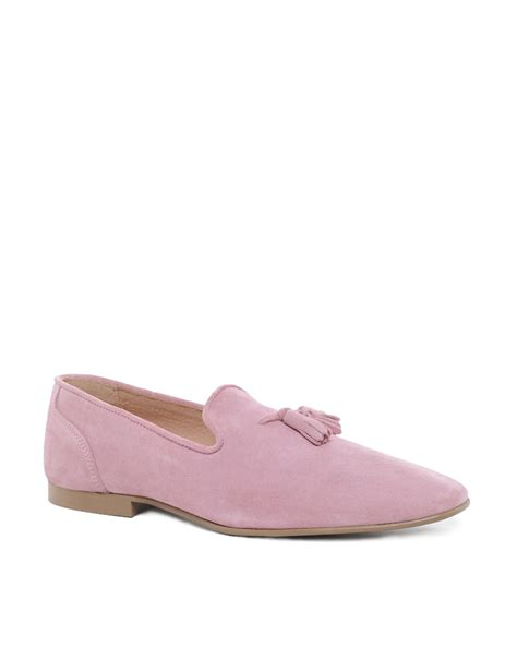 pink loafers asos tassel loafers in suede in pink for lyst