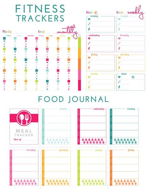 printable food and exercise planner printable fitness tracker food journal self help