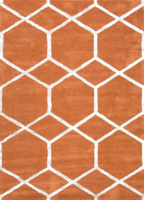 Orange Modern Rug by Tufted Geometric Pattern Wool Silk Orange Ivory