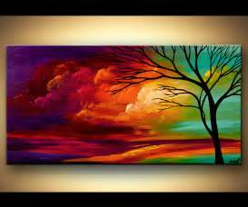 colorful canvas landscape tree painting original abstract contemporary modern