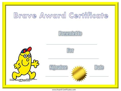 bravery certificate template free printable bravery certificates for