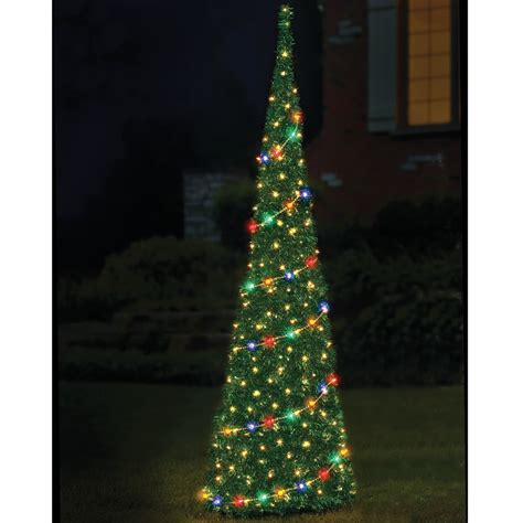 The 9 Prelit Pop Up Tinsel Tree Hammacher Schlemmer Pop Up Tree With Lights