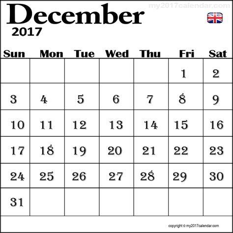 Calendar For December 2017 December 2017 Calendar Uk For Free Printable Monthly