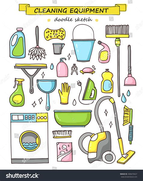 doodle create tools vector doodle set cleaning tools cleaning stock vector