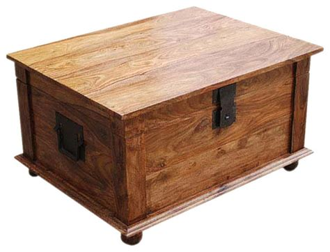 Sierra Nevada Solid Wood Coffee Table Storage Trunk Decorative Trunks For Coffee Tables