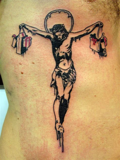 political tattoos designs banksy graffiti jesus crucifiction tattoomagz