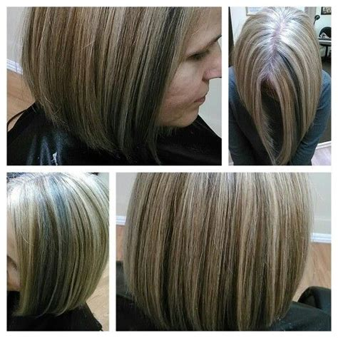coloring and blending gray roots 2 color blonde highlight on gray hair did not cover base