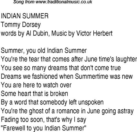 song in top songs 1940 charts lyrics for indian summer