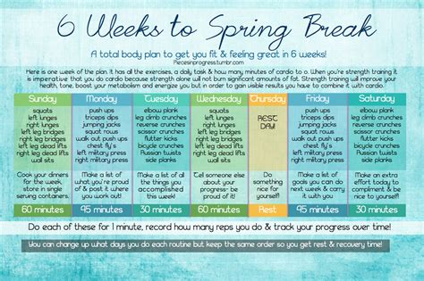 in home workout plan 6 weeks to spring break at home workout plan pieces