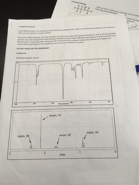 nmr tutorial questions h nmr worksheet problem 1 chemical formula is c5