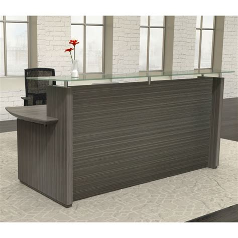 mayline reception desk mayline sterling 72 quot reception station in textured driftwood laminate strc72tdbs