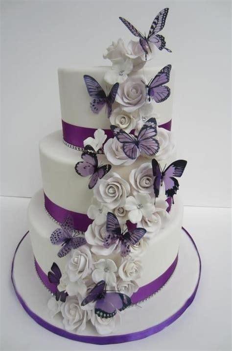 hochzeitstorte schmetterlinge purple butterflies white roses cake cakes butterfly