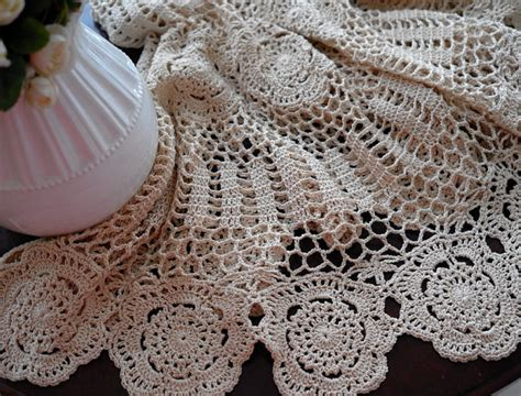 Handmade Crochet Designs - vintage handmade crochet tablecloth home design garden