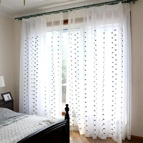 black and white sheer curtains black and white leaf embroidered sheer curtains